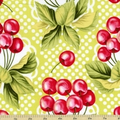 Fruits and Vegetables Cherry-O Cotton Fabric - Lime CX5489-D