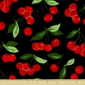 Fruits and Vegetables Cotton Fabric - My Cherry  - Black