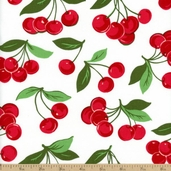 Fruits and Vegetables My Cherry Cotton Fabric - White CX4715-WHIT-D
