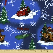Fuel Tide Greetings Cotton Fabric - Character Toss - Blue