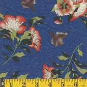 Fuji Afternoon Bird Floral - Blue - CLEARANCE