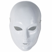 Full Face Blank Plastic Mask - White