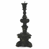 Full Wax Baroque Cast Candle - Black w/ Antique Gold - Clearance