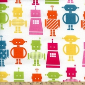 Funbots Large Bots Cotton Fabric - Garden