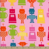 Funbots Large Bots Cotton Fabric - Pink