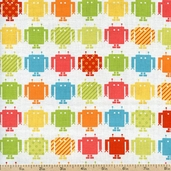 Funbots Square Bots Cotton Fabric - Bermuda