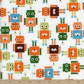 Funbots Tossed Bots Cotton Fabric - Park