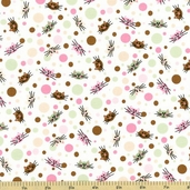 Funky Kitties Polka Dot Cotton Fabric - White - CLEARANCE