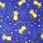 Funky Monkey Fleece Fabric - Blue