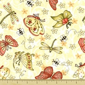 Garden Gifts Butterfly Cotton Fabric - Cream GGIF-621
