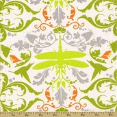 Garden of Delights Cotton Fabric - Dragonfly Taupe