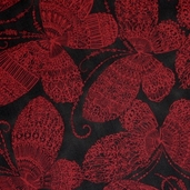 Garden of Enchantment Cotton Fabric - Black and Red