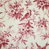 Garden of Enchantment Cotton Fabric - Ecru and Red