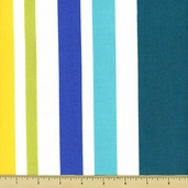 Garden Party Cotton Fabric - Big Stripe - Turquoise