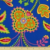 Garden Party Cotton Fabric - Floral - Blue