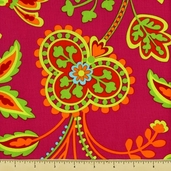 Garden Party Cotton Fabric - Floral - Pink