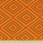 Garden Party Cotton Fabric - Mosaic - Orange