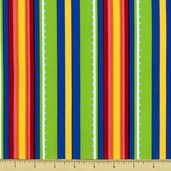 Garden Party Cotton Fabric - Stripe - Blue