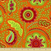 Garden Party Cotton Fabric - Wildflower - Orange