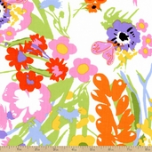 Garden Party Floral Cotton Fabric - White