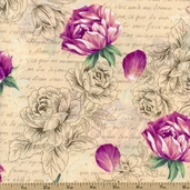 Garden Romance Small Floral Cotton Fabric - Rose J8672-158