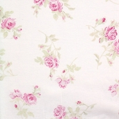 Garden Rose Cotton Fabric - White