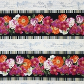 Garden View Repeating Stripe Cotton Fabric - Black