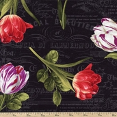 Garden View Tulip Toss Cotton Fabric - Black