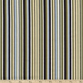 Garden View Vertical Stripe Cotton Fabric - Green