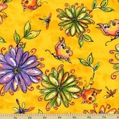 Garden Whimsy Large Floral Cotton Fabric - Yellow