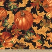 Gather Together Pumpkin Scroll Metallic Cotton Fabric - Black