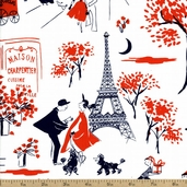 Gay Paree Toile Cotton Fabric - Red