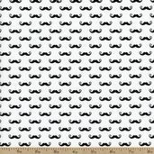 Geekly Chic Mustache Cotton Fabric - White