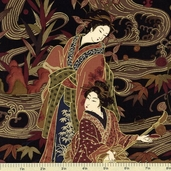 Geisha Large Scenic Cotton Fabric 2963M-99