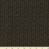 Geisha Star Hexagon Cotton Fabric - Black 2967M-99