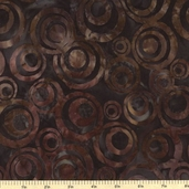 Geoscapes 3 Circles Batik Cotton Fabric - Brown