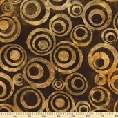 Geoscapes 3 Circles Batik Cotton Fabric - Gold