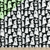 Glow in the Dark Ghosts Cotton Fabric - Black