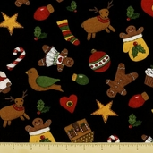 Ginger Trees Cotton Fabric - Holiday Toss - Black