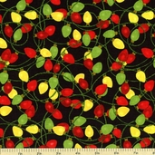 Ginger Trees Lights Cotton Fabric - Black