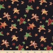 Ginger Trees Stars Cotton Fabric - Black