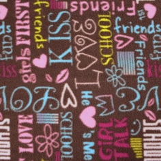 Girl's Fleece Polyester Fabric - Girly Words - Chocolate