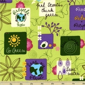 Girl Scouts Cotton Fabric - Go Green - Green AGS-9644-7