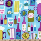 Girl's Night Out Ale Cotton Fabric - Blueberry