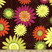Girls Rock Cotton Fabric - Brown 05206-77