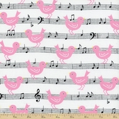 Girly Girl Music Cotton Fabric - White
