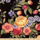 Giselle Cotton Fabric - Floral - black