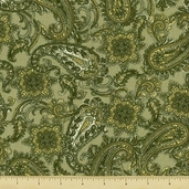 Giselle Cotton Fabric - Paisley - Green