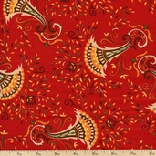 Give Thanks Cornucopia Cotton Fabric - Berry Red 19562-15