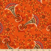 Give Thanks Cornucopia Cotton Fabric - Pumpkin Orange 19562-12